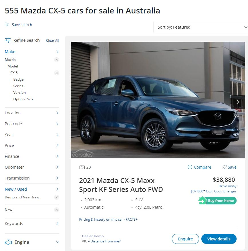 Mazda CX-5 carsales stock May 2021