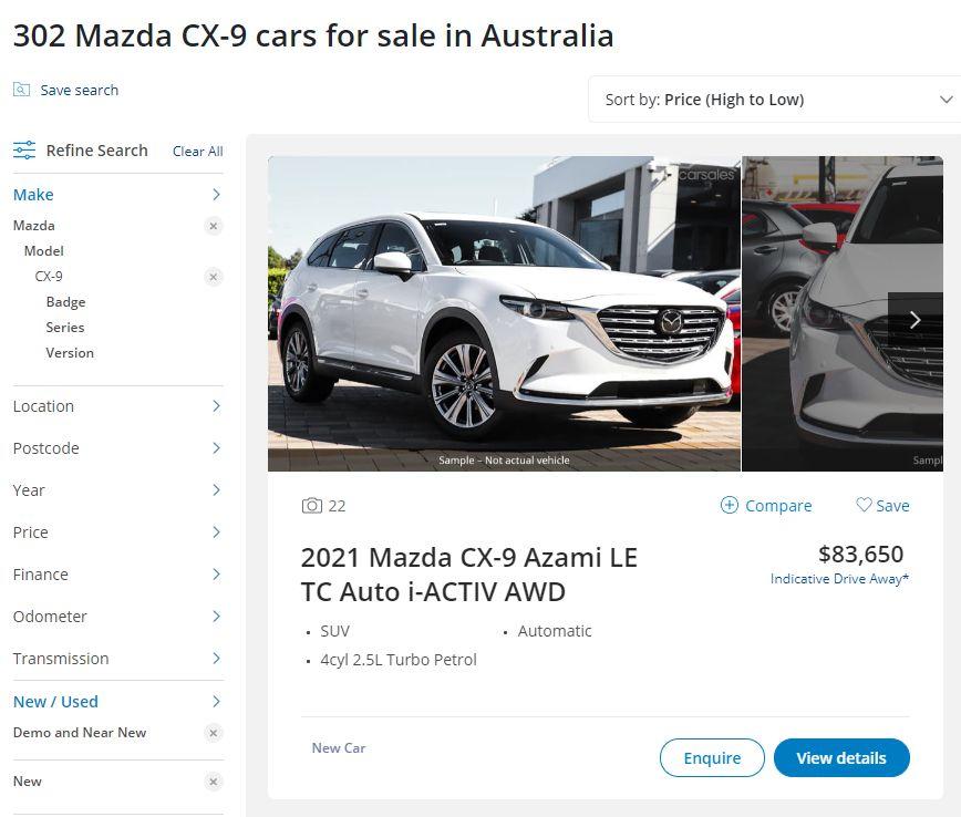 Mazda CX-9 carsales stock advertised in May 2021
